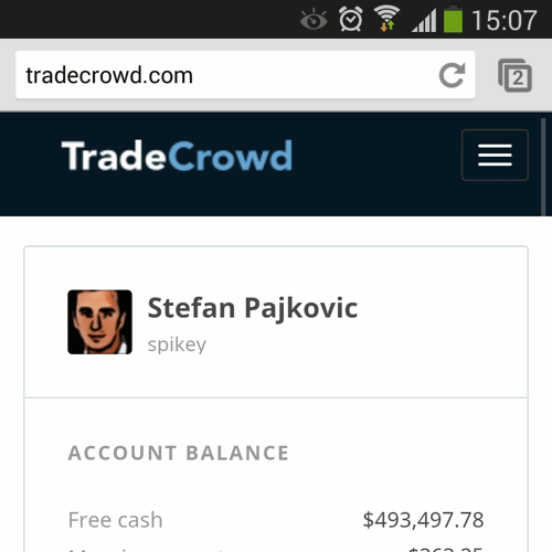 mobile view of a profile on TradeCrowd